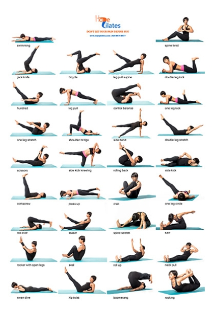 34 Classical Pilates Poses A3 Poster Hope Pilates